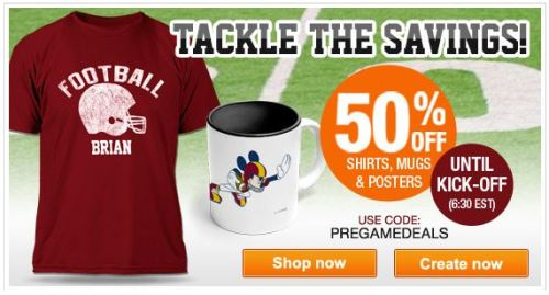 Ultimate Pre-Kick-Off Sale : 50% Off all T-Shirts, Mugs and Posters @ Zazzle click on the image or link 50%PRE-KICKOFF to activate the discount offer ends 3.30pm (PT) 5th February, 2012