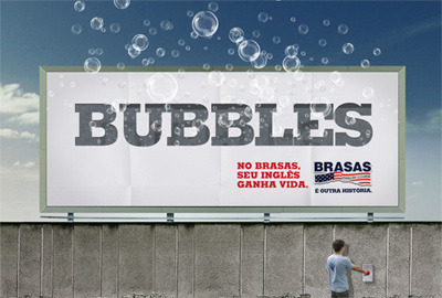 English School in Brazil make a Billboard that interacts with the public. Very Nice. BUBBLES!!!!!!!!!!!!!!!