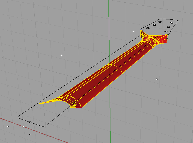 Another view of the neck I'm working on in Rhino. I'll export the 3D shapes as a .stl file and the lines and points as a .dxf, then I'll open them in a CAM program to produce the code that drives the machine.