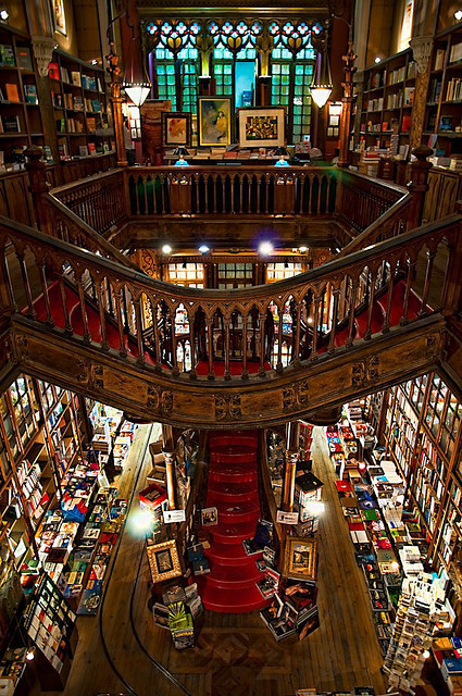 bibliotheca-sanctus:  Livraria Lello & Irmão, also known as Livraria Chardron or simply Livraria Lello (Lello Bookshop) is a bookshop located in central Porto, Portugal. Along with Bertrand in Lisbon, it is one of the oldest bookshops in Portugal. In 2011, the Australian Travel Guides and Guidebooks editor Lonely Planet classified Livraria Lello as the third best bookshop in the world.