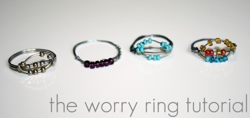 "truebluemeandyou: DIY Worry Bead Rings. Easy and reminds me of the old puzzle rings.  DIY Wire Worry Bead Rings. Tutorial from A Place in the Cloud here. TUTORIAL TAKEN DOWN DUE TO the fact that Glennon Melton said he ""invented"" the worry ring. Whaaaat? I can't find this person's jewelry on the internet and I bought something so similar to this YEARS ago!  *If you want more wire inspiration check out: http://truebluemeandyou.tumblr.com/tagged/wire"