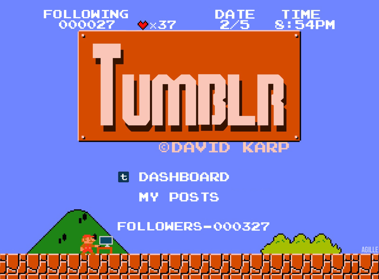 agille:  Super Tumblr Bros. By agille Edit: Thank you to everyone who helped get this to 2,000 notes. That's crazy. Edit: 4,000 notes!? Oh my gosh, that's incredible.