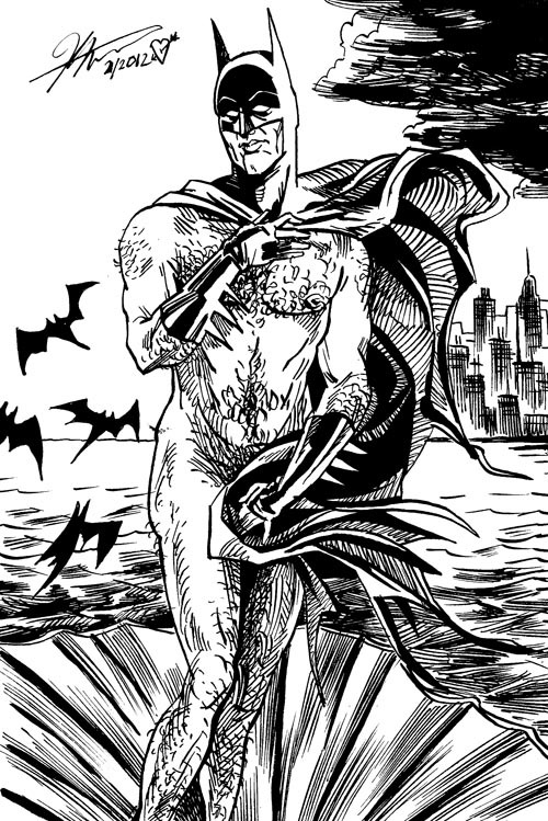 thehappysorceress:  Batman on a Halfshell by Kyle Latino