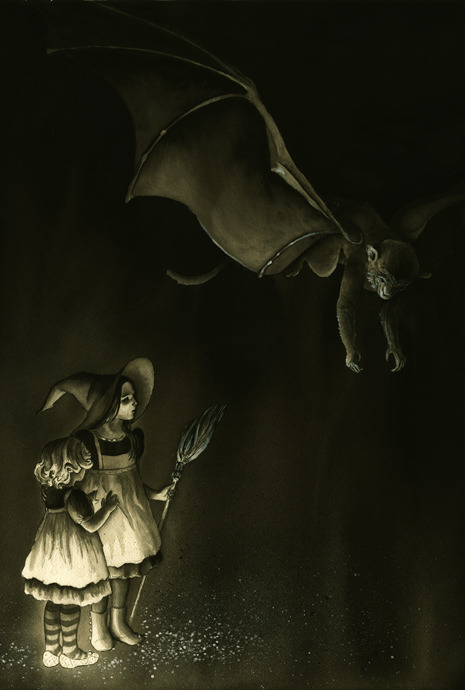 Illustration Friday: Suspense Childhood of the Witch Sisters Also my project for the annual Montserrat Illustration Theme Show Sometimes the end of a story is revealed at the beginning, when it doesn't really mean much to the audience. But as the story progresses and we learn to love the characters, the terrible knowledge of what awaits them builds in us a suspense far more nerve-racking than if we were simply wondering what happens next. Childhood of the Witch Sisters, based on The Wizard of Oz, depicts the wicked witches of the east and west. Both sisters die within the space of the book. I wanted to paint a scene that hinted at this future, but only slightly. For now, they are just children, exploring the somewhat ominous land of Oz. Prints of this painting can be purchased at: http://society6.com/DanaMartin/Childhood-of-the-Witch-Sisters_Print# Not sure whether the younger sister has learned how to use those shoes yet?