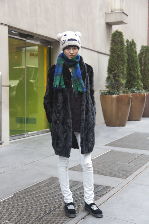 Model Style: Wang Xiao @ Wilhelmina So cute! Caught her outside of castings!