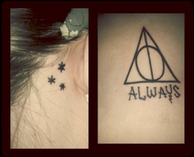 i got these 2 done at the same time. i love harry potter so much just like everyone else on this tumblr. and i love these 2 pieces a shit ton :) done by Eloise at Skin Gallery in Downers Grove, IL