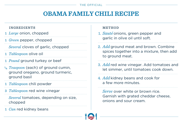 barackobama:  Accept no substitutes.  Presidential Chili.