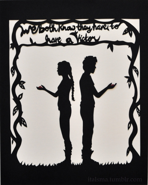 italsma:  We Both Know. Hand-cut silhouette based on Suzanne Collins' The Hunger Games, featuring Katniss Everdeen and Peeta Mellark. 8x10 inches. This is the first in a series that I'm working on based on the book series, stayed tuned for more! This piece is also available in my Etsy shop. Check it out, here.