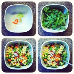 Evolution of my delicious lunch! :) I love being vegan.