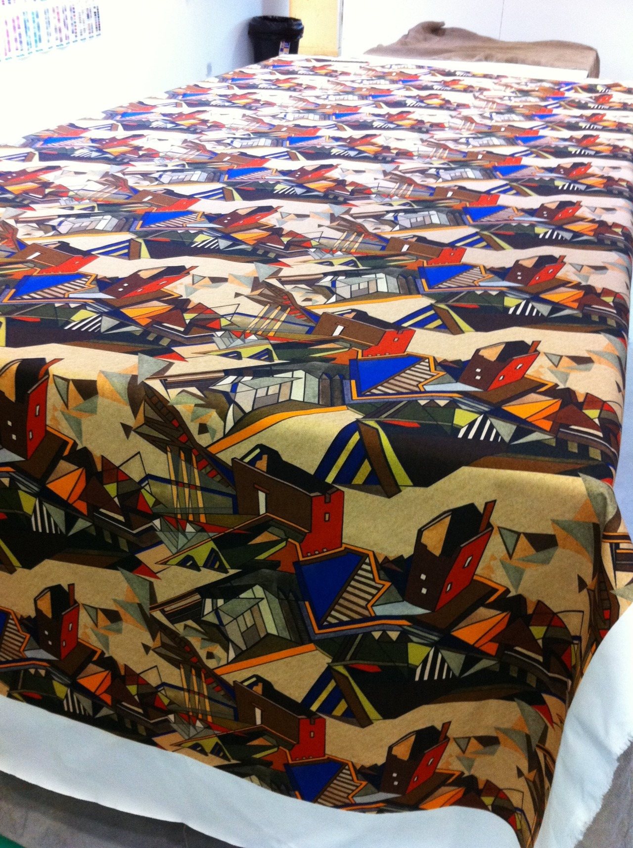 Digitally printed length one from my first collection of interiors - design is half drop repeat on cotton drill fabric… interior weight with twill structure and takes the colour well.