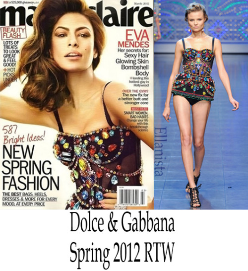 Magazines Eva Mendes graces the cover of March's Marie Claire US cover in a Dolce & Gabbana SS12 bustier.