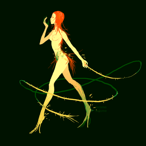 oxboxer:  Trying to redesign Poison Ivy as per a buddy's request. Sorry Jia… I don't think this baby is gonna be very cosplay-ready… But seriously, the moment you start turning into a plant, you give up having to give a shit about clothes. No pants. Living the dream. Not quite freaky enough for a Bat-lady, though. Need to put this design through a couple rounds of reworking.