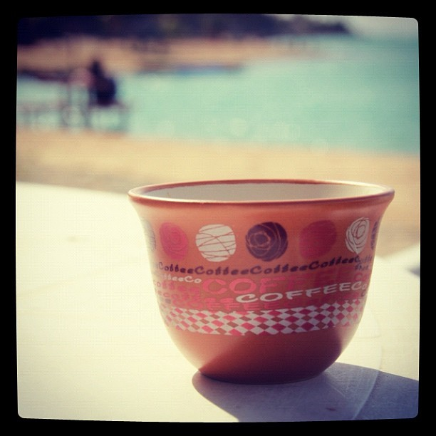 #Arabic #cup of #Coffee on #Sunset #Jeddah #Beach  (Taken with instagram)