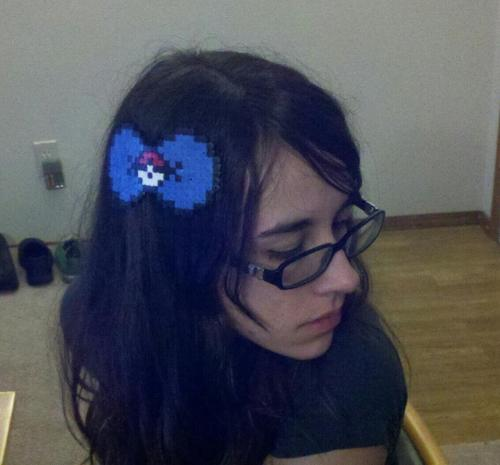 I made a cute hairclip thinger outta perler beads! I found one online that was red, and found out I didn't have the right color red, so I went with blue! Blue is my favorite color, so I love it even more. :3
