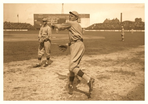 Babe Warms Up On The Sidelines - 1916 When he just a great pitcher with the Red Sox…and still very thin!