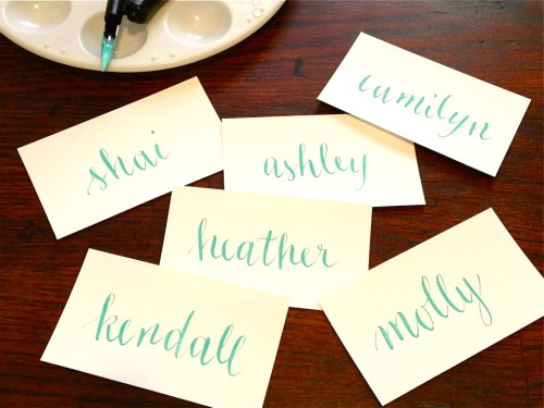 Just finished calligraphing some place cards for an upcoming beach-themed event. Aqua ink on white… pretty.