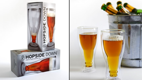 Loving these quirky 'Hopside Down' pint glasses.