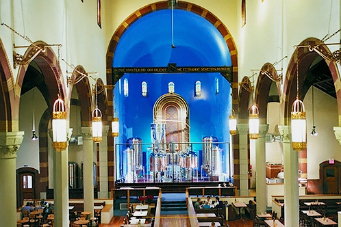 11 New Uses for Old Churches - Mental Floss  Cool piece highlighting several re-purposed old churches.  I like this brewery/restaurant in Pittsburgh.   This list is a good start, though there certainly are more than 11 new uses for old churches. In Houston alone, there are at least three former churches that have been converted to uses not mentioned on the list: one church currently serves as a public library (disclosure: I worked for the architectural firm that renovated the building, and I know that link doesn't feature a great photo of the Houston Public Library's interior!); another serves as a non-profit art house/microcinema that screens films in its church space; and a third one is a venue for opera performances.  I love the distillers where the altar would be, it cracks me up. follow me