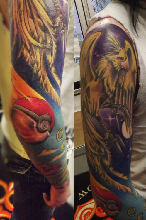 A better from of my sleeve from a different angle.  Getting more focus on the Chocobo on my outer bicep and the pokeball on my elbow.