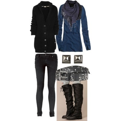 Aedon Jung by missolimew featuring thigh high bootsBurberry Brit v neck cardigan£347 - net-a-porter.comAerie long sleeve shirtae.comSuper skinny jeans£49 - jackwills.comFree People thigh high boots$328 - freepeople.comVince Camuto stud earrings$32 - zappos.comHTC black belt€239 - jades24.comKnitted scarve£16 - topshop.com