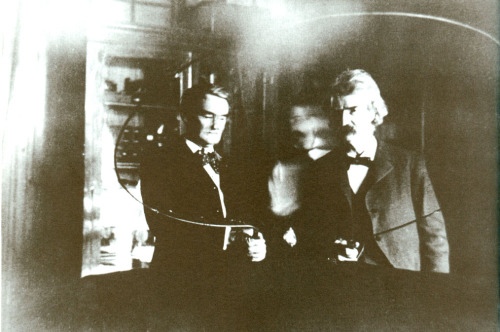 Joe Jefferson,a blurry Nikola Tesla, Mark Twain.