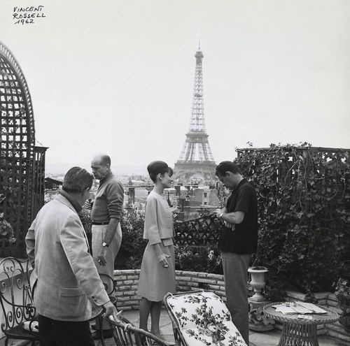 Audrey Hepburn and William Holden on the set of Paris When it Sizzles. Photograph by Vincent Rossell, 1962.