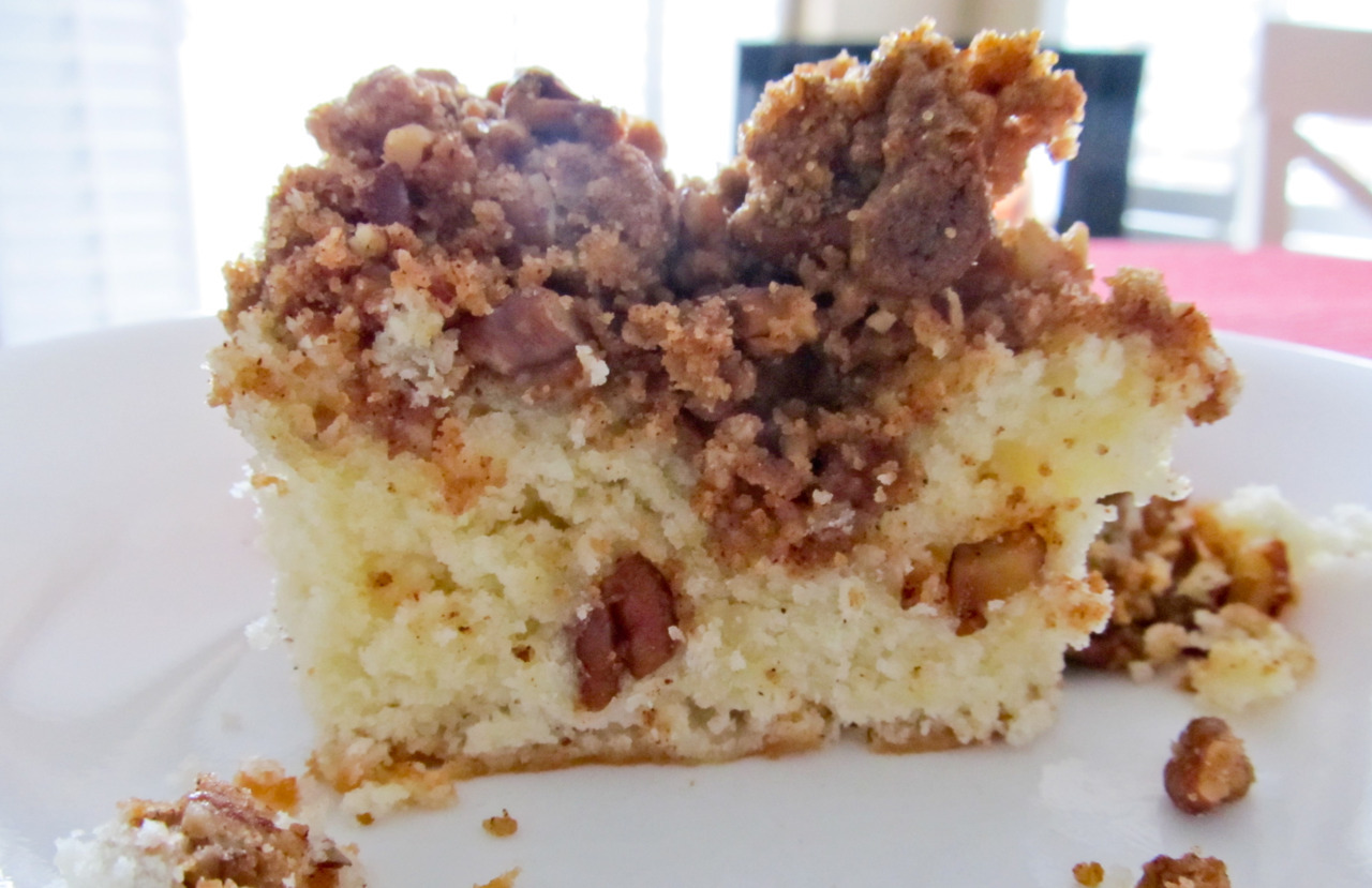 I decided to bake coffee cake the other night. It was SO moist and the topping was ah-ma-zing. Yummm.