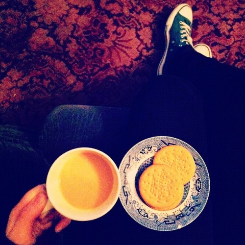 Tea and biscuits. Food for flu. (Taken with instagram)