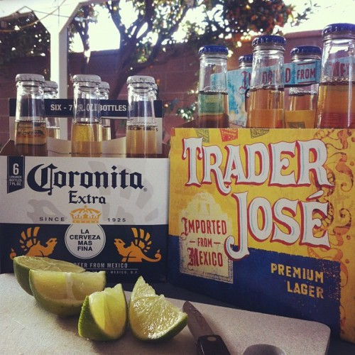 This week's beer comparison features Corona vs Trader Jose. Jalollipop, where you at? Lol (Taken with instagram)