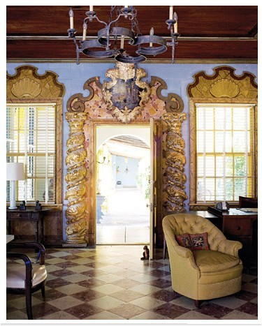 Beautiful painted details surround the door and windows (via Art - Painted Ceilings & Walls)