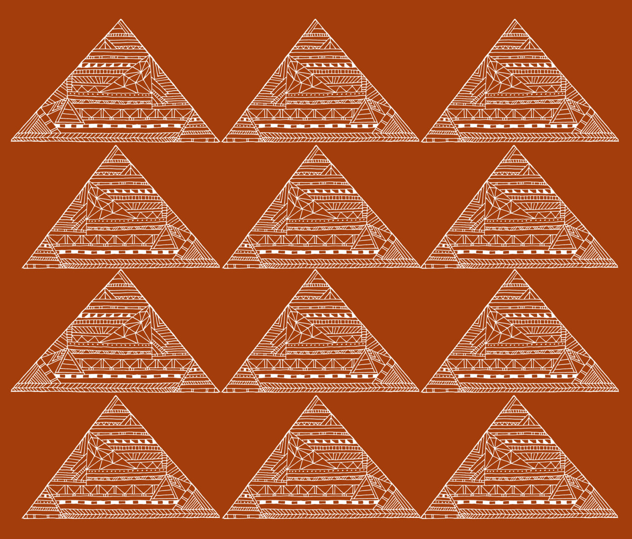 Day 36 - Triangles on Rust -hand drawn illustration