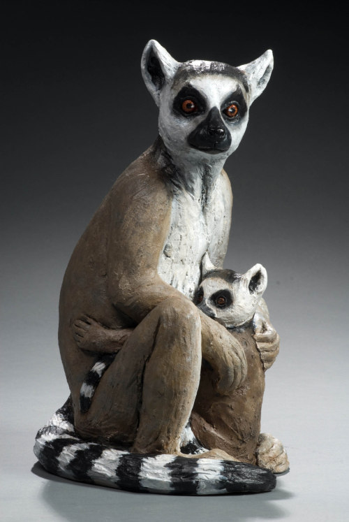 "Cindy Billingsley: Lemur and baby, 2008, 15"" x 8"" 9"", raku clay, hand built solid, hollowed for firing, low fired, cold finish acrylic and wax"