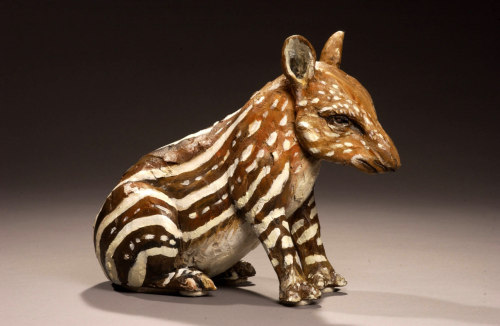 "Cindy Billingsley: Tapir, 2007, 15"" 15"" x 9"", raku clay, hand built solid, hollowed for firing, low fired, cold finish acrylic and wax"