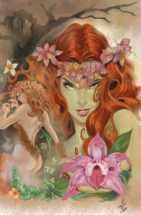 fyeahpoisonivy:  [Image: A full color illustration of DC comics character Poison Ivy. She is shown in the background as a large shoulders up portrait offering a flower to the viewers with a confident smile. She is also shown in the foreground as a smaller knees up view with her back to the audience. She is holding a flower up to her nose and looking over her shoulder at the viewers with a sly expression.] girlwithredglasses:  Cris de Lara