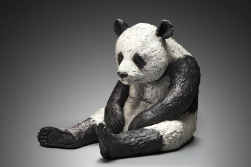 "Cindy Billingsley: Panda, 2008, 25"" x 28"" x 15"", raku clay, hand built solid, hollowed for firing, low fired, cold finish acrylic and wax"
