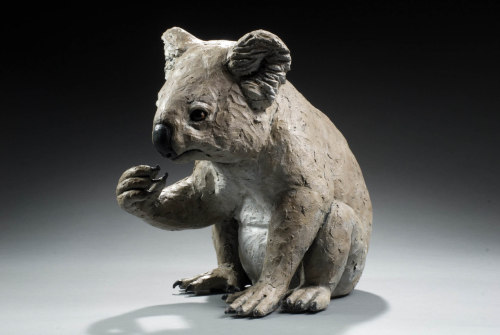 "Cindy Billingsley: Koala, 2007, 25"" x 27""x 15"", raku clay, hand built solid, hollowed for firing, low fired, cold finish acrylic and wax"