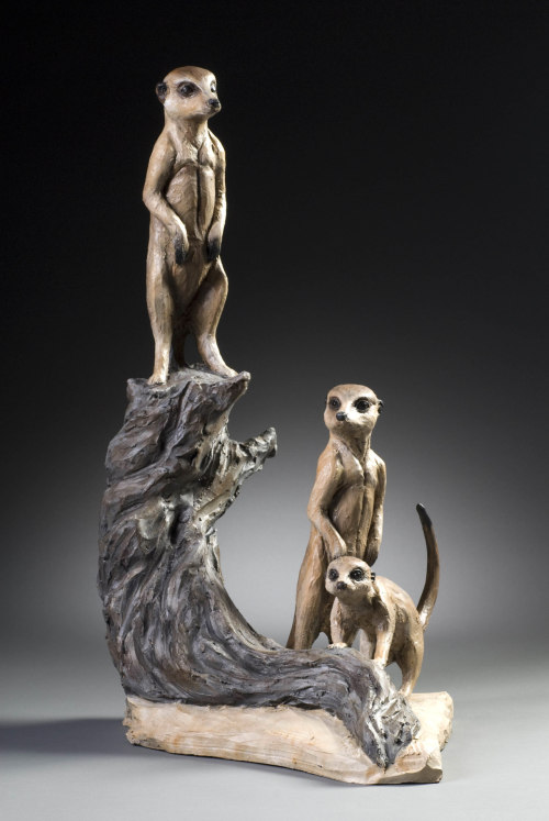 "Cindy Billingsley: Meerkats Alert, 2008, 25"" x 24"" x 15"", raku clay, hand built solid, hollowed for firing, low fired, cold finish acrylic and wax"