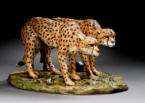 "Cindy Billingsley: On the prowl cheetahs, 2009, 15"" x 22"" x 22"", raku clay, hand built solid, hollowed for firing, low fired, cold finish acrylic and wax"