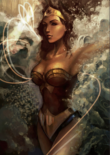 tenmantri:  Diana Quite an old concept painting of Wonder Woman called 'Gliding Through the Waves'. I'm not pretty satisfied with how I drew faces and anatomy before so I'll probably redo this concept again.