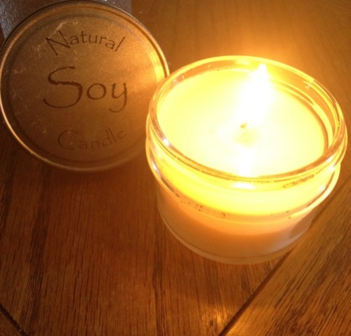 Toxic-free, dye-free, cotton wick soy candle from Etsy.