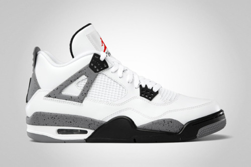 "As 2012 marks the 23rd anniversary of the Air Jordan IV, Jordan Brand has big plans for the classic Tinker Hatfield-designed silhouette with all four OG colorways dropping throughout the year. The first such release will be the retro of the white/cement grey colorway. Originally donned by ""His Airness"" back in 1989 and popularized by Spike Lee's Do the Right Thing, this MJ signature is highlighted by a bold red Jumpman on the tongue and sports a predominately white look with cement grey and black accents throughout. Returning to retailers for the first time since 1999, the kicks are set to drop on February 18 for $160 USD"