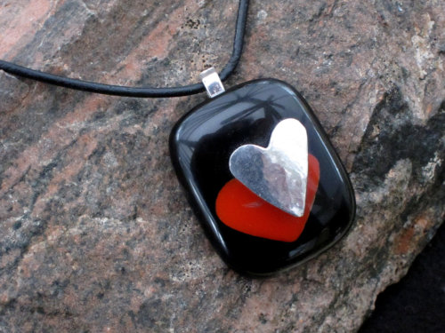 Glass valentine pendant with solid silver heart