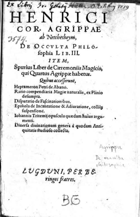 Wikipedia: Three Books of Occult Philosophy (De Occulta Philosophia libri III) is Heinrich Cornelius Agrippa's study of occult philosophy, acknowledged as a significant contribution to the Renaissance philosophical discussion concerning the powers of ritual magic and its relationship with religion. The three books deal with Elemental, Celestial and Intellectual magic. The books outline the four elements, astrology, kabbalah, numbers, angels, God's names, the virtues and relationships with each other as well as methods of utilizing these relationships and laws in medicine, scrying, alchemy, ceremonies, origins of what are from the Hebrew, Greek, and Chaldean context. These arguments were common amongst other hermetic philosophers at the time and before. In fact, Agrippa's interpretation of magic is similar to the authors Marsilio Ficino, Pico della Mirandola and Johann Reuchlin's synthesis of magic and religion and emphasize an exploration of nature. Unlike many grimoires of the time, before and past, these books are more scholarly and intellectual than mysterious and foreboding. These books are often read as authoritative by those interested in the occult even today.