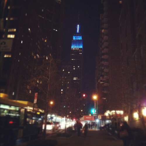 maybelline:  Empire State Building, lit up in blue.