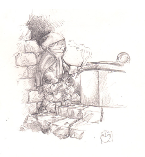 Halfling Thief sketch that I will probably turn into small illustration, finished it off in a coffee shop the other day.