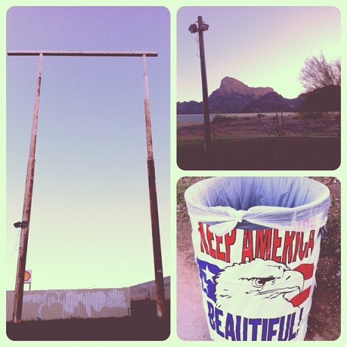 Pit stop. #picachopeak #arizona #pit stop #mountain #trash #america #irony #rustythings (Taken with Instagram at Picacho, Az)