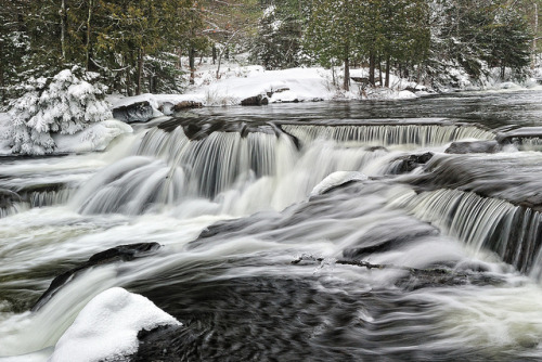 Winter at Bond Falls ~ Upper Bond Falls ~ Paulding, Michigan by Michigan Nut on Flickr.