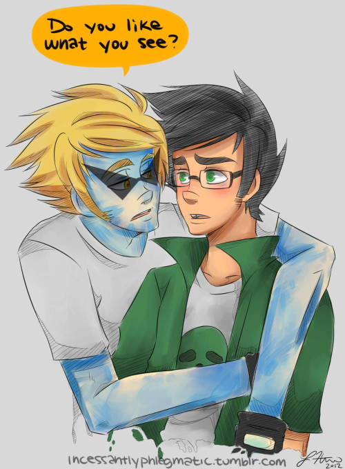 incessantlyphlegmatic:  I've been wanting to draw these two with blue paint involved for far too long now.  So here it is!  Inspired by these two( http://askdirkandjake.tumblr.com/ ) because they are just so adorable!  Go check out their blog and livestream!   TT: Do you like what you see?