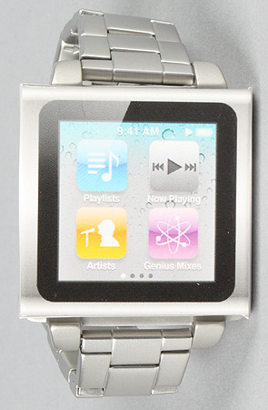 Stainless steel watch band for 6th generation iPod Nano by Hex (click picture to purchase) (save 20% off with the repcode: illestmag when you shop at karmaloop.com)
