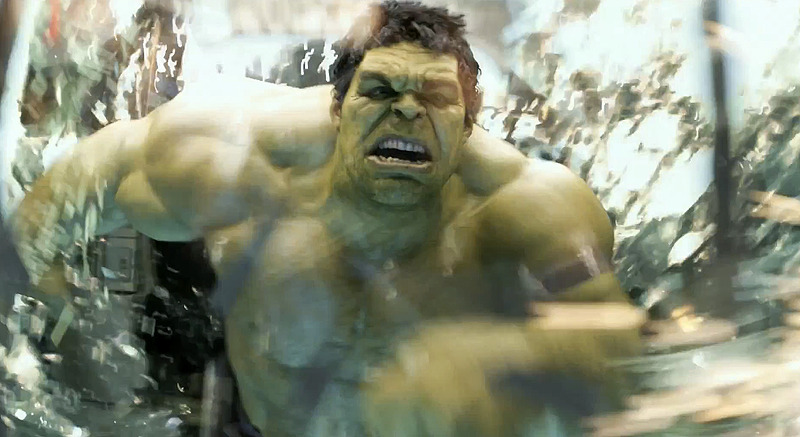 Yep, that definitely looks like an angry Mark Ruffalo as the big green guy Hulk smashing through windows! From the extended Super Bowl spot for Marvel's The Avengers!